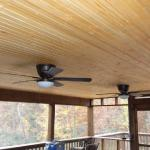 Stained Tongue and Groove Ceiling in Screened Porch Area of Custom Deck