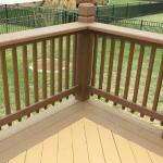 Detail of Tri-tone Stain Pattern on Decking and Handrail of Custom Deck