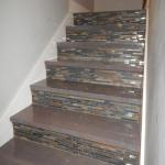 Heart Pine Treads with Epoxy Finish and Slate Mosaic Risers (2)