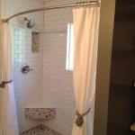 "Ringgold ""His and Her"" Shower with Subway Tile and Pebble Stone Mosaic"