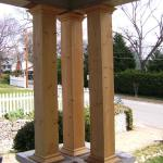 Outside corner porch column built around screw jack for support